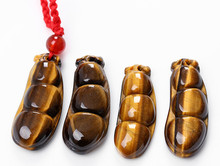 Natural Tiger Eye Stone Pendant Yellow Beans Kidney Bean Pendant Necklace Men Women's Fashion Stone Jewelry Free Rope