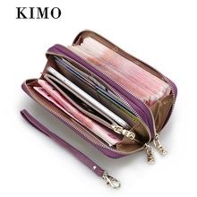 KIMO NEW Women Genuine Leather Wallets High Quality Long Ladies Leather Purse Large Capacity Woman Wristlet Cellphone Wallet