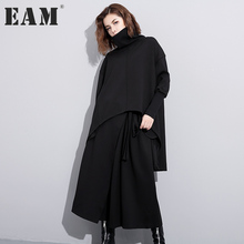 Buy EAM 2017 new autumn solid color high collar long sleeve black irregular loose big size dress women fashion tide JC74501 for $28.16 in AliExpress store