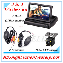 DC 12V Folding Foldable Car Monitor With Rear View Camera + Wireless Kit 3 in 1 Wireless Parking Camera Monitor Video System(China)
