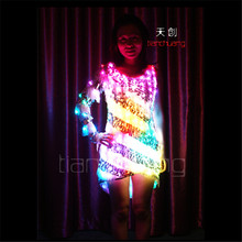 TC-89 Full color  colorful light women LED costumes party skirt ballroom dance Snow White wedding dress cloth programming design