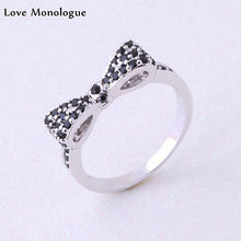 Love Monologue Excellent Stackable Minimalist Bow Silver Color Paved Tiny Black Onyx Rings For Office Womens Jewelry J0220