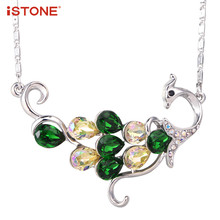 iSTONE Peacock Made with Swarovski Elements Pendant Necklace,16 inch+2 inch adjustable Gemstone Fine Jewelry Gift for Woman(China)