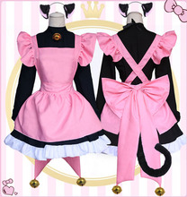Anime Card Captor Kinomoto Sakura Cat Ear Apron Dress Cosplay Costume Full Set Lolita Maid Uniform Halloween Fancy Party Dress