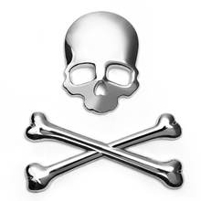 3D Car Stickers Skull Metal Skeleton Auto Decals Label Skull Emblem Badge Car Styling Stickers For Honda Ford VW BMW Toyota(China)