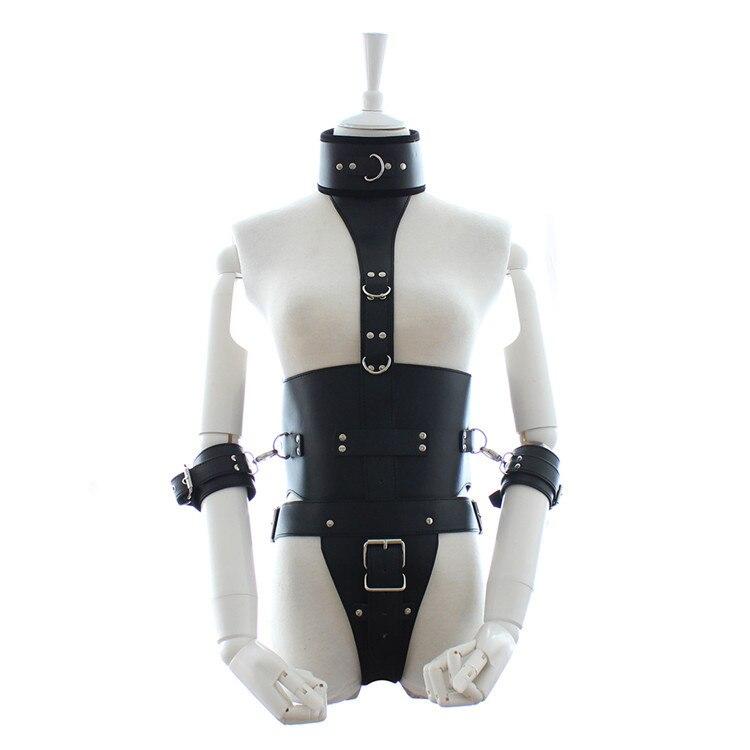 Black leather bondage armor restraints belt bdsm fetish neck collar hand arm cuffs chastity belt adult games sex products<br>