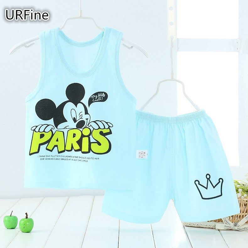 URFine Girls Boy Clothes Cartoon Cat T-Shirt + Short Children'S Suits Clothing Set Girls Set Girls Suit Children'S Clothing(China)