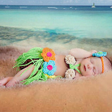 Newborn Baby Photography Props Costume New Born Beach Grass Tutu Infant Skirt Handmade Crochet Flower Headwear Outfit Fotografia(China)