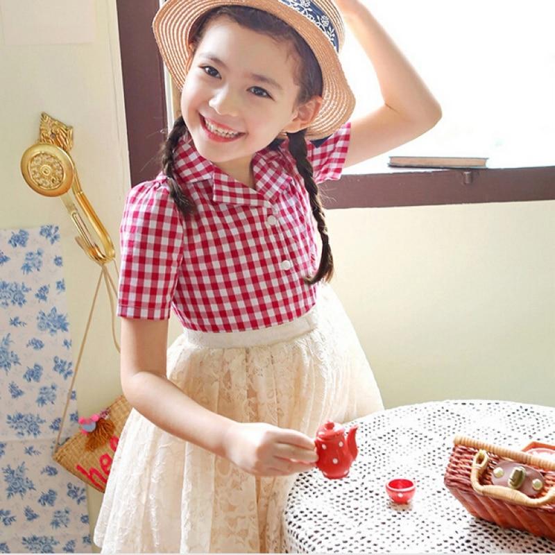 girl plaid princess dress kids pure cotton white gauze lace dress childrens clothing  teenagers lolita  Party dress<br><br>Aliexpress