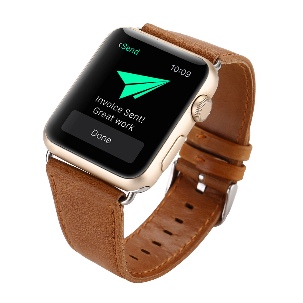 Durable men women Genuine Leather Buckle Wrist Watch Band watch strap Horses Belt for Watch Apple Watch 38mm genuine leather <br><br>Aliexpress