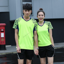 Adsmoney Short Sleeve Badminton suits T Shirt + Shorts Fitness Tee Men Sportswear Men Badminton Jersey Sports Tee Tennis Shirts(China)