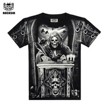 Rocksir 3d skull t shirts Men 2017 HOT SALE Fashion Brand Mens Casual 3D Printed T shirt Cotton Men Clothes tshirt plus size