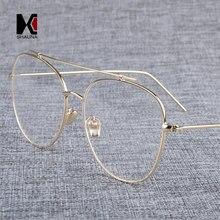d178cb3e782 SHAUNA Oversize Stainless Steel Glasses Frame Luxury Women Polit Eyeglasses  Retro Double Bridges Men Clear Lens Reading Eyewear