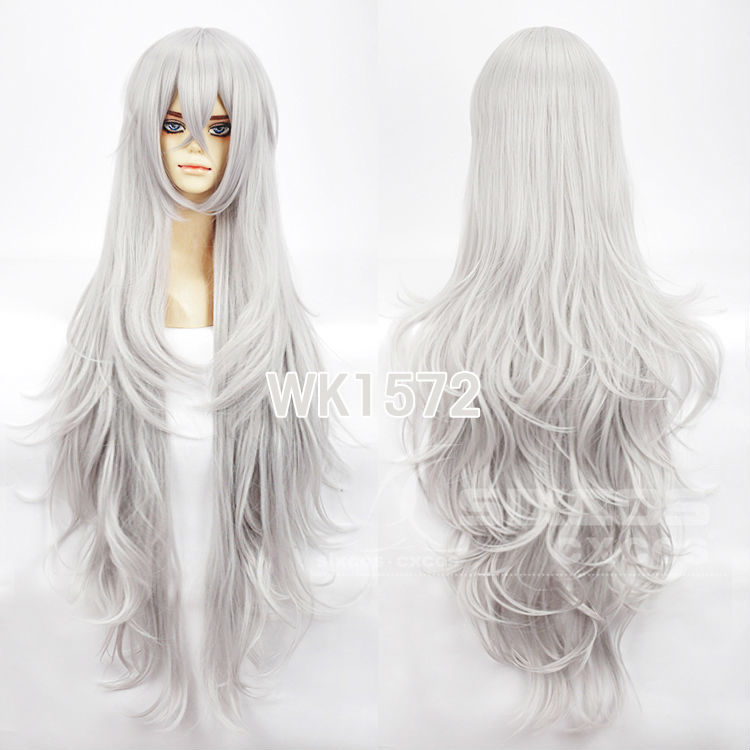 Free Shipping Full Lace Synthetic Wig 110cm Sliver Gray Long Curly Deep Wavy Hair ICHU-ArS Heat Resisitant Anime Cosplay Wigs<br><br>Aliexpress