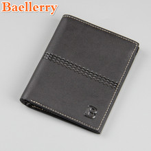 Baellerry Brand Factory Direct Men Short Wallet Card Holder Retro Casual Passcard Cover Wallet Slim Leather Money Purse Wallet