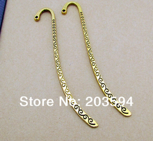 Wholesale 10Pcs /Lots  Antique Gold Bookmark Metal Bookmark with loop 86mm