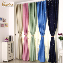 ANVIGE Modern Stars Printed Full Blackout Curtains Window Treatment Curtain 5 Colors Cartoon Drapes Custom Made Curtain(China)