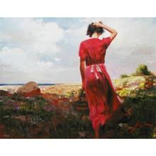 Modern art Pino Daeni figure oil painting landscape pictures Windy Day Paintings for home wall deco(China)