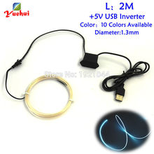 10 Color Select 1.3mm EL Wire 2Meters Electroluminescent By DC-5V Steady On USB Driver Led Neon Lighting For Party Decoration(China)