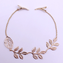 Korean Fashion Hair Accessories Golden Leaves Hairpin Elegant Hair Bands Headband Alloy Material Gilded Headwear Free Shipping