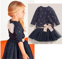 2017 New Spring Children Baby  Girls Clothing Set Girls Star Clothes Angel Wing Blue Tutu Dress  Cartoon Suits Bowknot Twinset