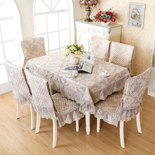 Blue coffee Lace floral printing linen tablecloth set suit 130*180cm table cloth matching chair cover 1 set price free ship