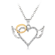 Fashion Jewelry Silver Plated Heart Angel Wings CZ Pendant Necklace For Women Bring Good Luck And Safety