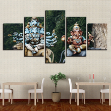Modern Home Wall Art Decorative Framework Pictures 5 Pieces India Elephant Head God HD Printed Ganesha Painting On Canvas Poster(China)