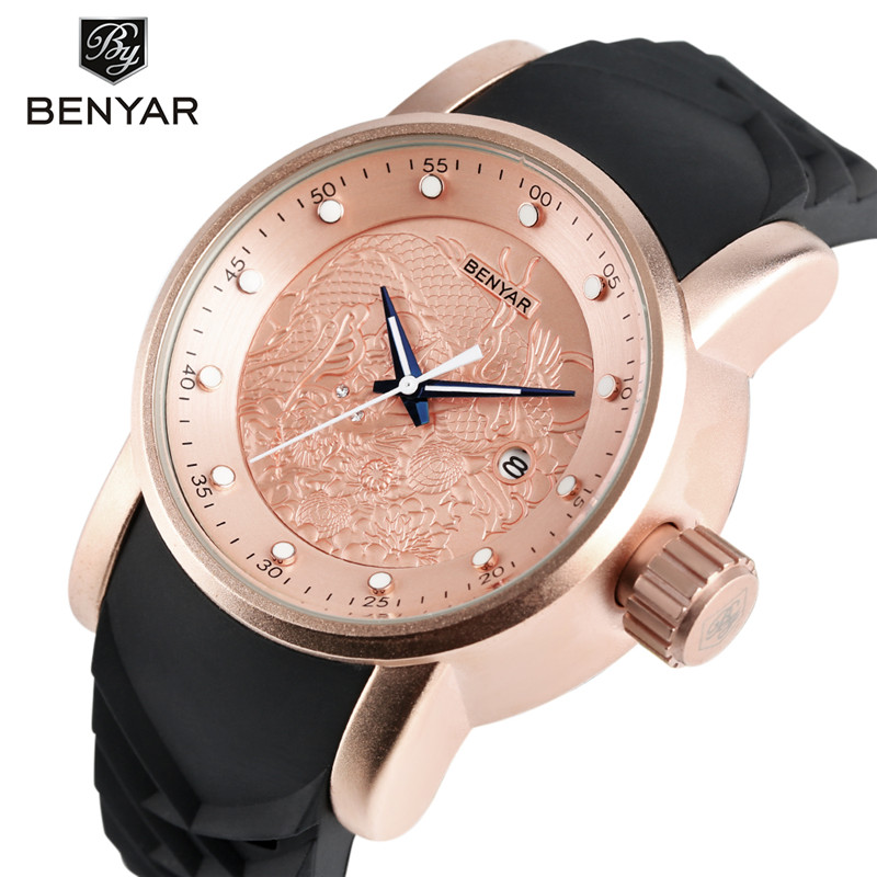 BENYAR Luxury Brand Men Wristwatch 3D Chinese Dragon Carving Dial&Band Date Display Waterproof 30m Business Watch heren horloge(China (Mainland))
