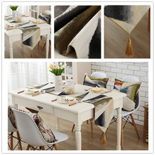 Painting style table runner. Beautiful jacquard fabric tablecloth. Natural earthy colors. Coffee table cloth. 3 colors(China)