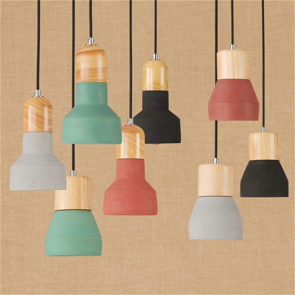 Art Decoration colorful E27 LED cement pendant lamp black, green, grey,cognac cement lampshade abat jour luminaire wood lighting<br>