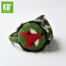 2017 KBB Spring Winter Kawaii Yarn Knit anime Faux Fur Green with Red Fox Design Winter Earmuffs head accessories for Women Men(China)