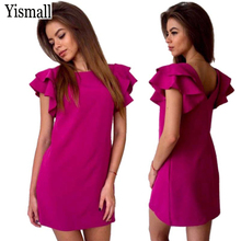 Yismall 2017 Women Summer Sexy Backless Beach dress Butterfly Sleeve Casual Red Green Party Club Mini shirt Dresses vestidos