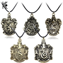 Hot!!!Hogwarts Gryffindor Hufflepuff Slytherin Ravenctaw School logo Necklace & Pendants Movie Jewelry Free Shipping(China)