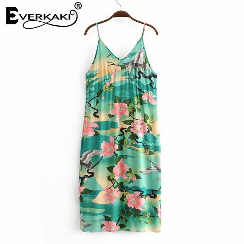 Everkaki Boho Dress Gypsy Printed V-neck Sleeveless Split Women Dress  Vintage Cotton Nightingale Strap Maxi Dress 2018 Autumn  ebe16f022aff