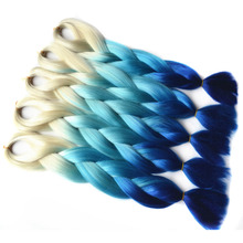 "Chorliss 24""(65cm) 613TL.BlueTblue  Synthetic Hair Extensions Crochet Braids Straight Jumbo Ombre Braiding Hair 100g/pack"