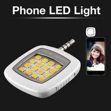 Portable LED Light Selfie Spotlight Mini 16 LED Phone Flash Fill-in Pocket Light For IOS Android iphone 7 6 6s 5 5S samsung htc(China)