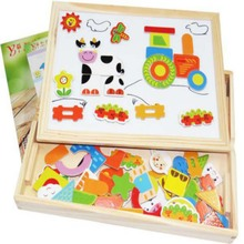 New Learning Educational Farm Animal Wooden Fridge Magnetic Puzzle Toys for Children Jigsaw Baby Drawing Easel Board New