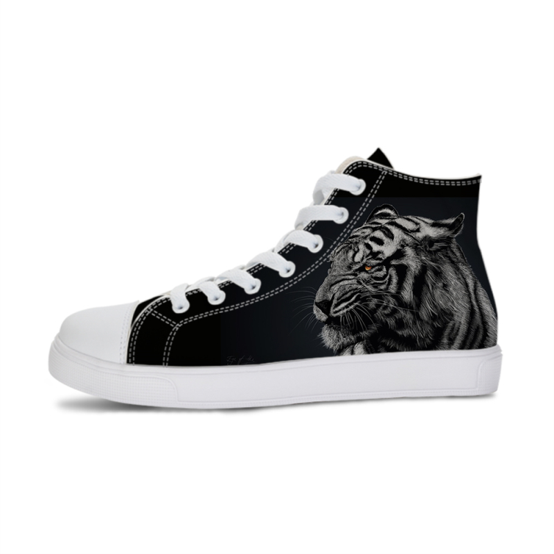 Siberian tiger Animal Print Sneaker Vulcanized Shoes Men Canvas sewing Shoes High-top Flat Lace-up Male/Women Autumn Sneakers