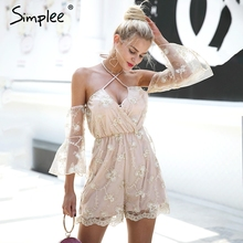 Buy Simplee Sexy halter embroidered flare sleeve chiffon women jumpsuit Autumn summer v neck elastic wasit romper Elegant playsuit