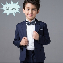 Fashion kids baby boys blazers suits formal blue clothing prom wedding casual spring summer costume flower boy The suits