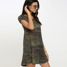 summer fashion  Camouflage o-neck loose short-sleeve dress Casual Jersey Vestidos