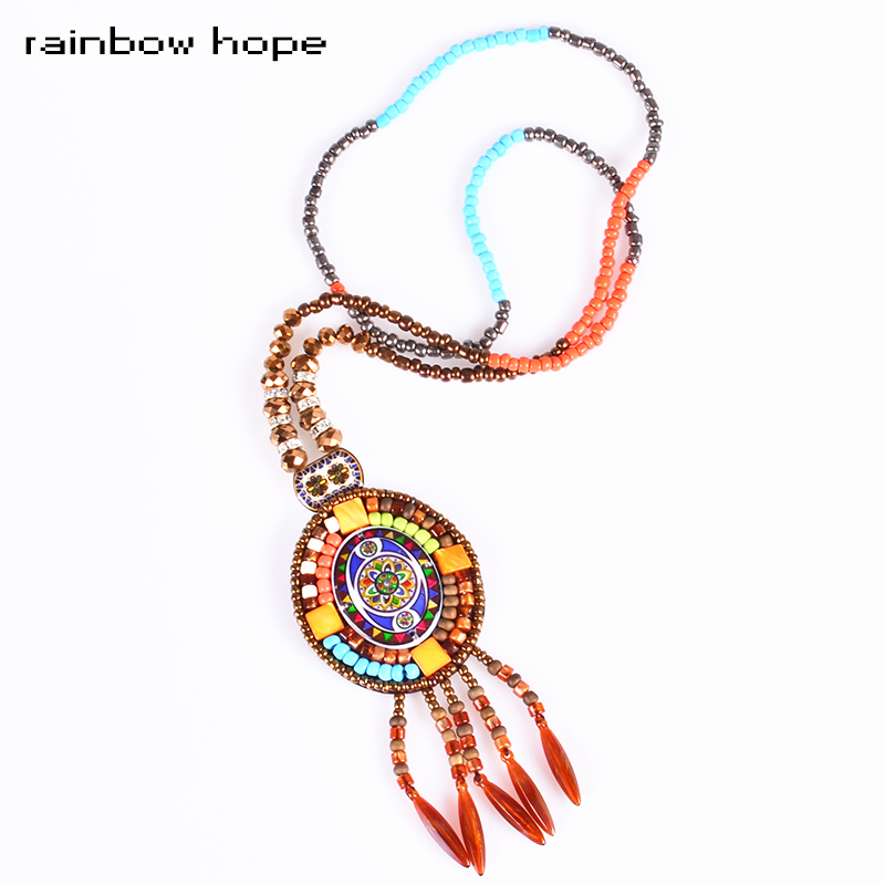 High-quality vintage Color ceramic pendant necklace & handmade beads tassel style Pendant long ethnic necklaces fashion jewelry(China (Mainland))