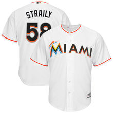 MLB Men's Miami Marlins Dan Straily Baseball White Home Cool Base Jersey(China)