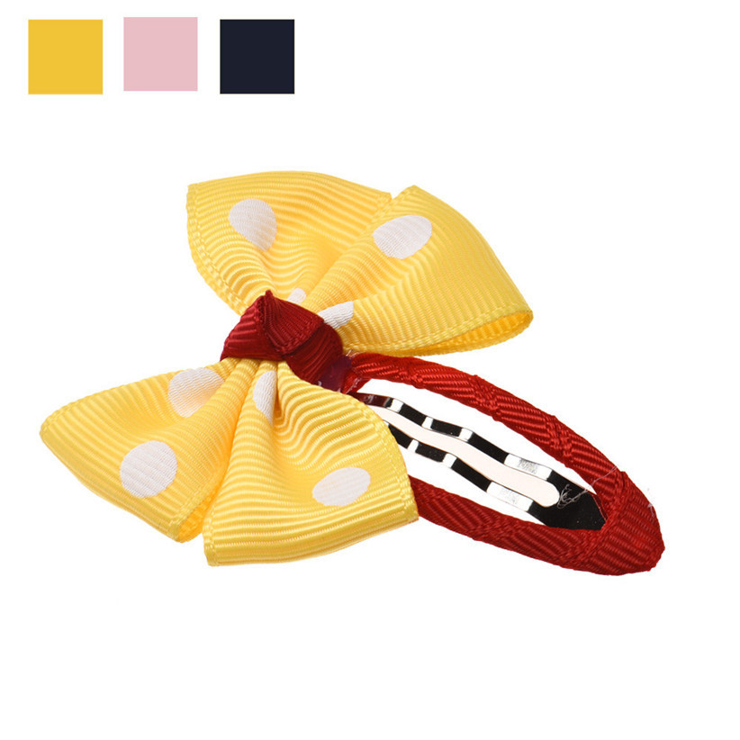 Newly Design Retail 1PC Cute Dot Bow Hairpins Baby Hair Accessories Pink Yellow Darkblue July21 Drop Shipping<br><br>Aliexpress