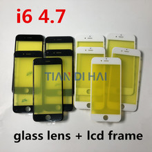 10pcs/lot AAA+ quality LCD Front Touch Screen Glass Outer Lens for iphone 6 4.7 inch with frame bezel(China)