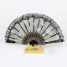 Chinese Dance Party Wedding Fan Lace Flower Folding Hand Held Flower Fan