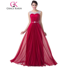 Grace Karin Evening Dress Red Chiffon Long Evening Gowns Sequin Beaded Party Events Robe De Soiree Special Occasion Dresses 2017(China)