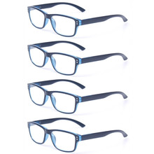 Reading Glasses Set of 4 Great Value Quality Fashion Plastic Clear Lens Eyewear Men and Women Spring Hinge Presbyopic Glasses