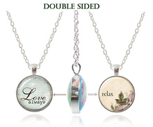 Love letter necklace double faced pendant glass dome necklace silver chain Love always quote jewelry relax letter necklaces gift(China)